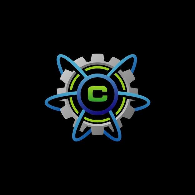 Network connection zahnrad-service-logo Premium Vektoren