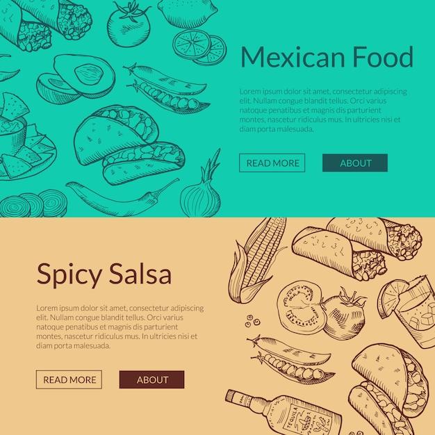 Netzfahnenschablonen mit skizzierten mexikanischen nahrungsmittelelementen Premium Vektoren