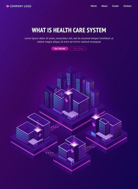 Netzwerk für medizinische gebäude in smart city Kostenlosen Vektoren