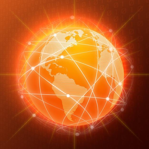Netzwerk globus konzept orange Kostenlosen Vektoren