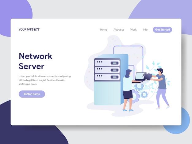 Netzwerk-server-illustration für webseiten Premium Vektoren