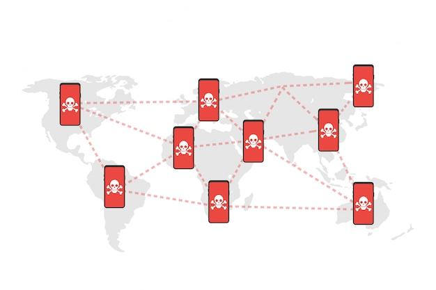 Netzwerk-sicherheitslücke - viren, malware, ransomware, betrug, spam, phishing, e-mail-betrug, hacker-angriff. vektor-illustration Premium Vektoren