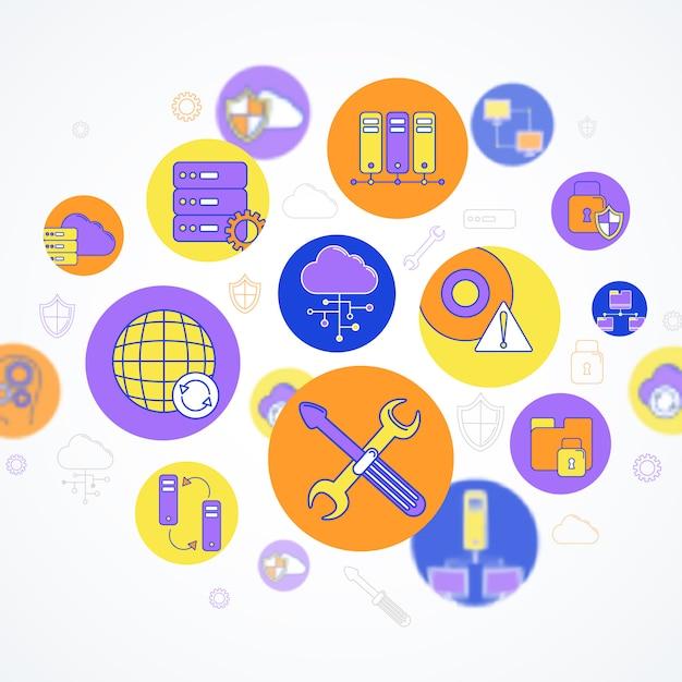 Netzwerk- und server-konzeptelementzusammensetzung Kostenlosen Vektoren