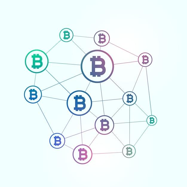 Netzwerk von blockchain bitcoins hintergrund Kostenlosen Vektoren