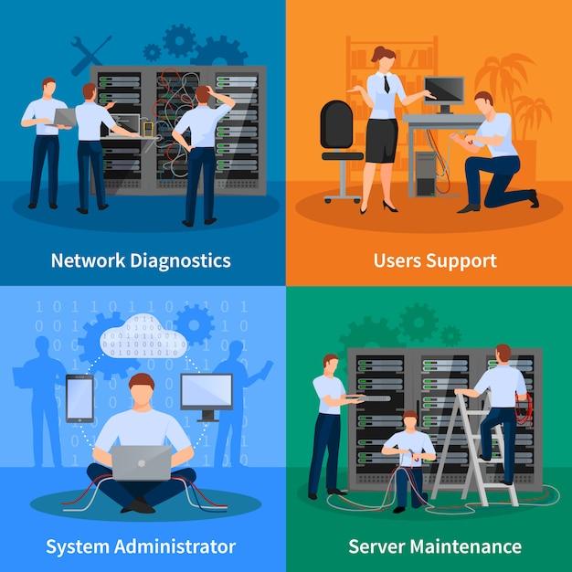 Netzwerktechniker und es administratordesignkonzept-satz netzdiagnosebenutzerunterstützung und serverwartungselemente vector illustration Kostenlosen Vektoren