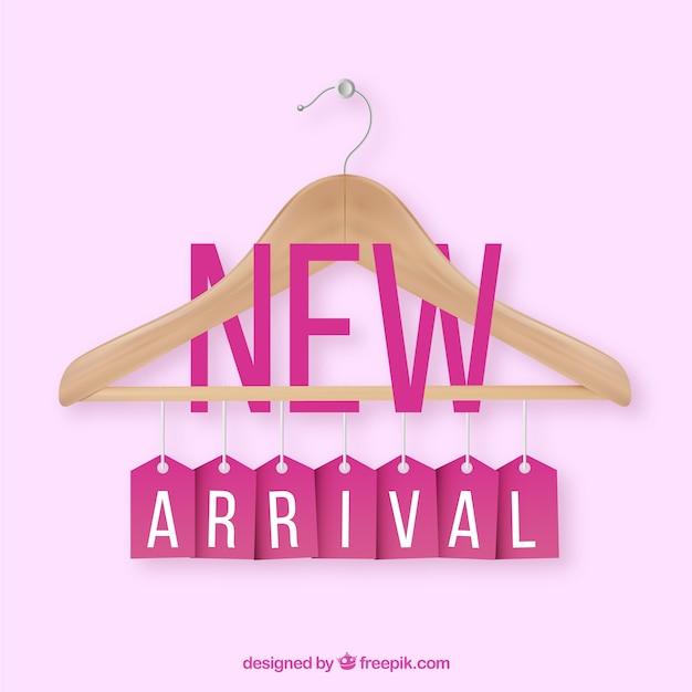 Neue ankunftszusammensetzung mit realistischem kleiderbügel Kostenlosen Vektoren