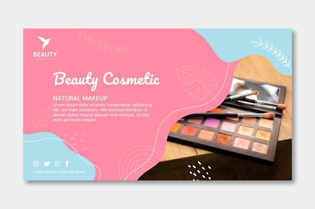 Neue banner-vorlage für die make-up-palette Premium Vektoren