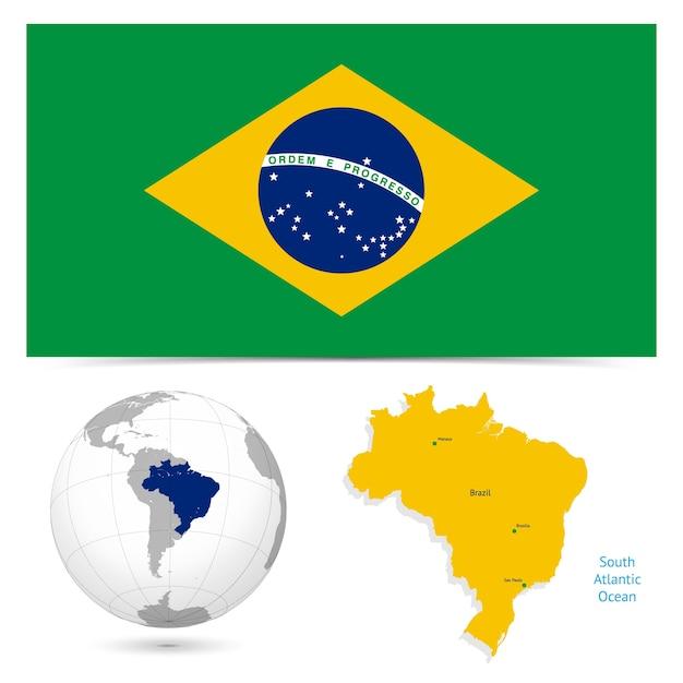 Brasilien Karte Welt.Neue Detaillierte Flagge Mit Karte Welt Von Brasilien Download Der