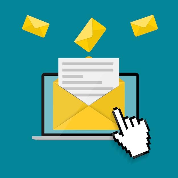 Neue e-mail auf dem laptop-bildschirm benachrichtigungskonzept. illustration Premium Vektoren