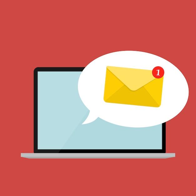 Neue e-mail auf dem laptop-bildschirm benachrichtigungskonzept. vektor-illustration Premium Vektoren