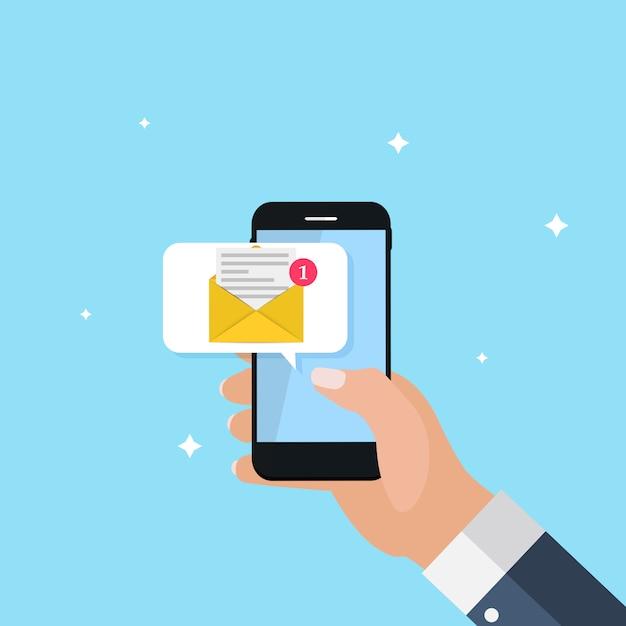 Neue e-mail auf dem smartphone-benachrichtigungskonzept. illustration Premium Vektoren
