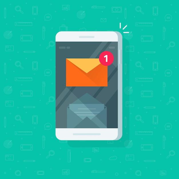 Neue e-mail-benachrichtigung an der flachen karikatur der handy- oder mobiltelefonillustration Premium Vektoren