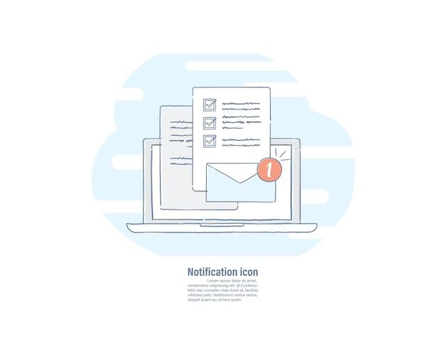 Neue e-mail-benachrichtigung Premium Vektoren