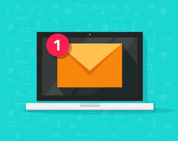 Neue e-mail-nachricht auf dem laptop Premium Vektoren