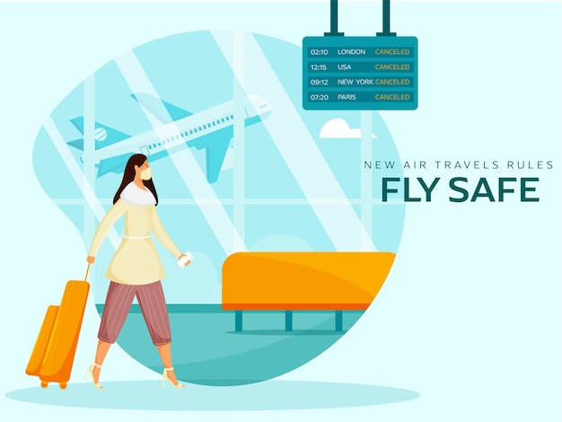 Neue flugreiseregeln fly safe based poster mit junger touristin am flughafen. vermeiden sie coronavirus. Premium Vektoren