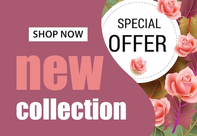 Neue kollektion schriftzug mit rosa rosen. saisonales angebot oder verkaufswerbung Kostenlosen Vektoren