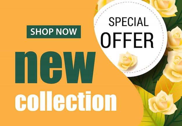 Neue kollektion schriftzug mit rosen. saisonales angebot oder verkaufswerbung Kostenlosen Vektoren