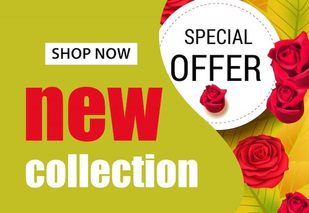 Neue kollektion schriftzug mit roten rosen. saisonales angebot oder verkaufswerbung Kostenlosen Vektoren