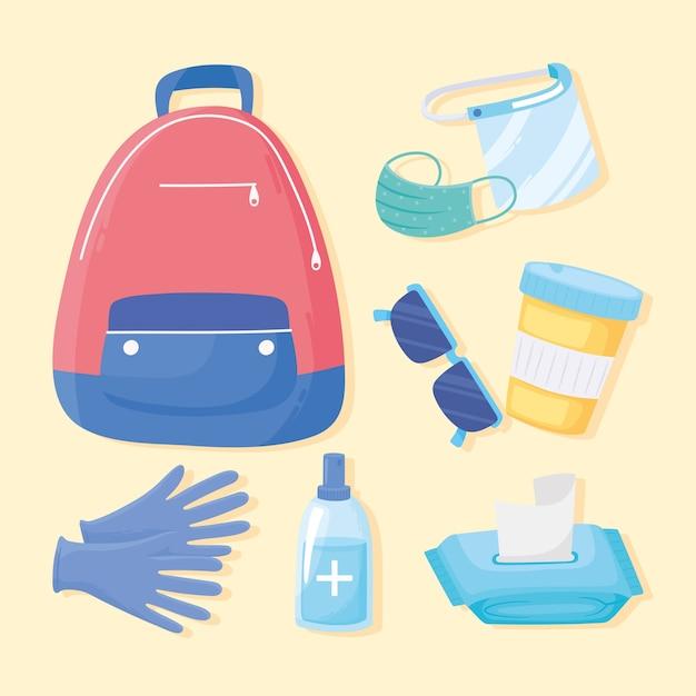 Neue normale reisehygienebeutelhandschuhe medizinmaskenikonenillustration Premium Vektoren