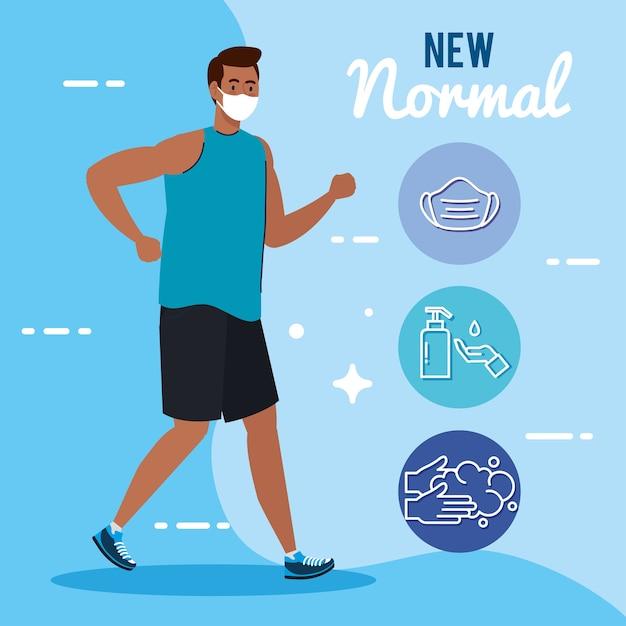 Neue normalität des mannes mit laufender maske und symbolsatzdesign des covid 19-virus und des präventionsthemas Premium Vektoren