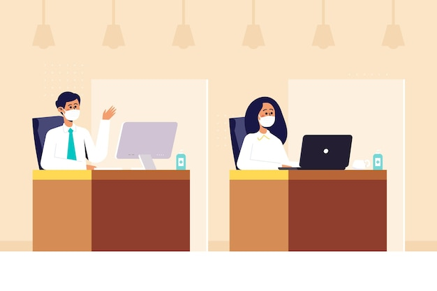Neue normalität im büro abgebildet Kostenlosen Vektoren