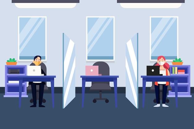 Neue normalität im büro Premium Vektoren