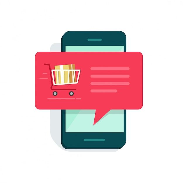 Neue online-bestellungsnachrichtenbenachrichtigung auf flacher karikatur des smartphone- oder mobiltelefonvektors Premium Vektoren
