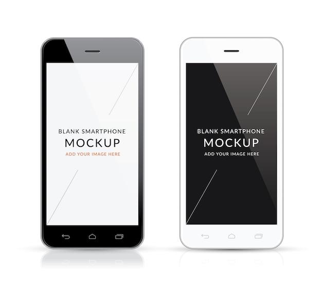 Neue schwarze und weiße moderne smartphone mockup vektor ...