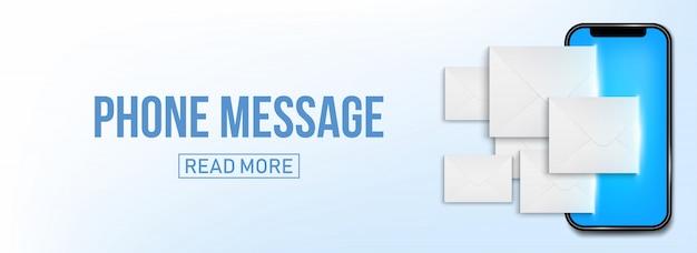 Neue sms oder e-mail-benachrichtigung auf handy-banner Premium Vektoren