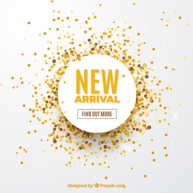 Neuer ankunftskonzepthintergrund mit goldenen konfettis Kostenlosen Vektoren
