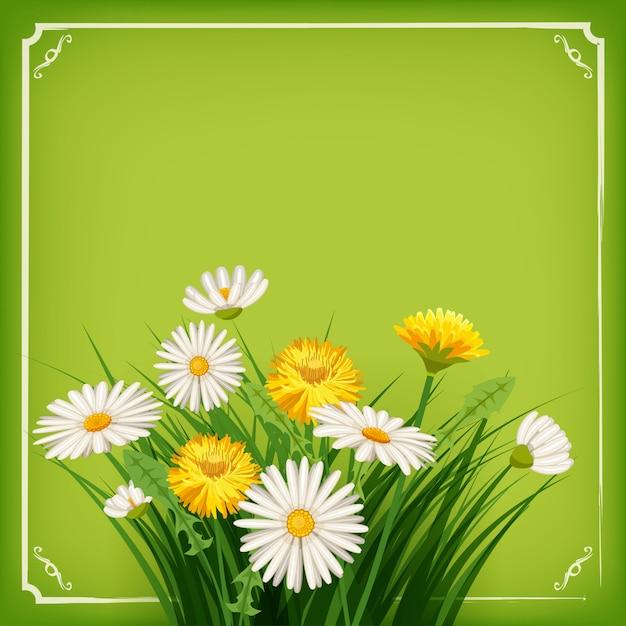 Neuer frühlingshintergrund mit gras, löwenzahn und gänseblümchen. vektor Premium Vektoren