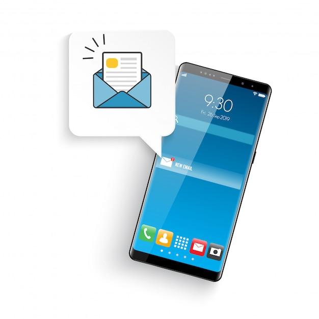 Neuer realistischer moderner stil des mobilen smartphones Premium Vektoren