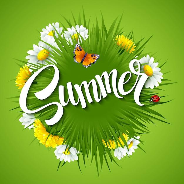 Neuer sommerhintergrund mit gras, löwenzahn und gänseblümchen Premium Vektoren