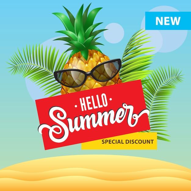 Neuer spezieller rabatt, hallo sommerplakat mit karikaturananas in der sonnenbrille Kostenlosen Vektoren