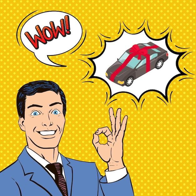Neues auto als geschenk, komposition mit glücklichem mann, blasen, comic-stil Kostenlosen Vektoren