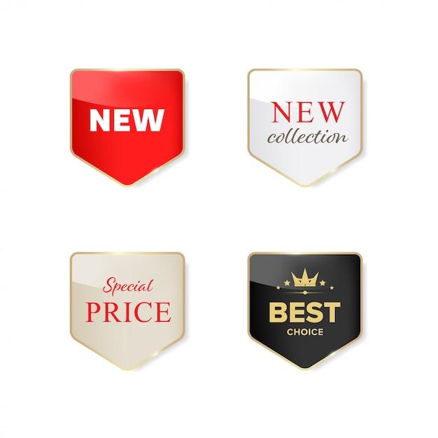 Neues etikett und sonderverkauf glänzendes etikett. Premium Vektoren
