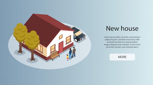 Neues haus in der stadt isometrische horizontale immobilienmakler website banner mit familienhaus zum verkauf Kostenlosen Vektoren