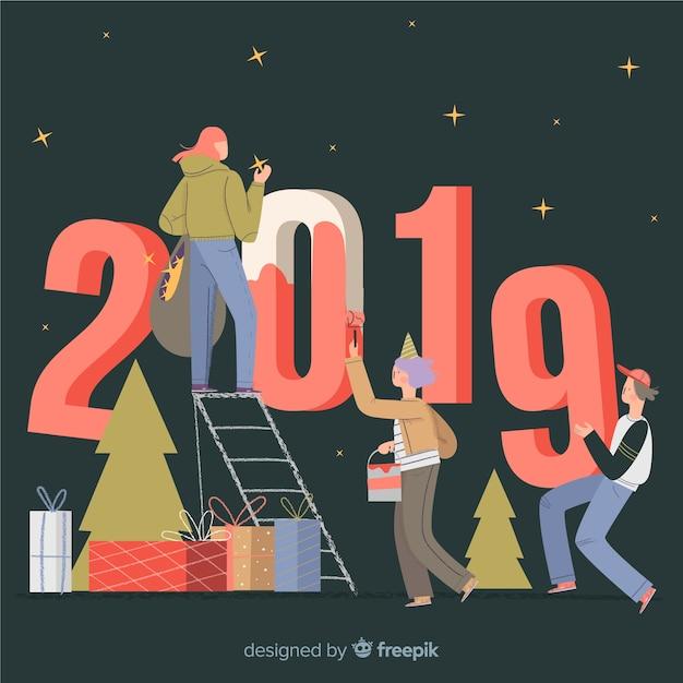 Neues Jahr 2019 Hintergrund Kostenlose Vektoren
