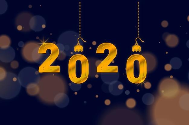 Neues jahr 2020 im verschwommenen stil Kostenlosen Vektoren