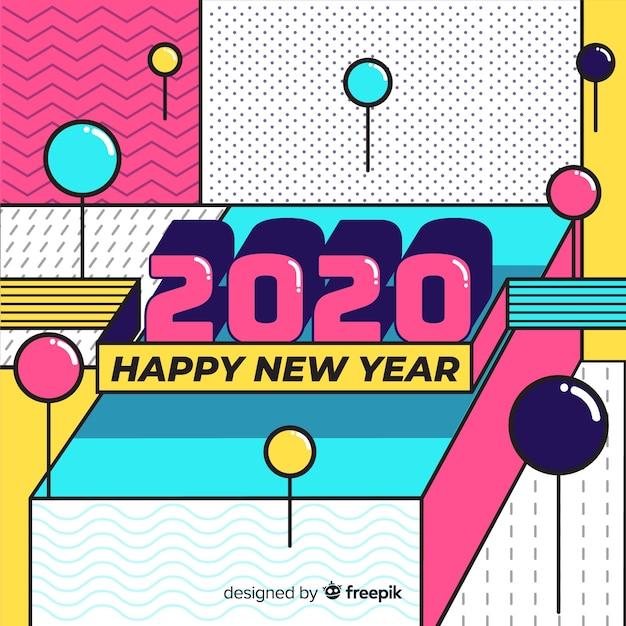 Neues jahr 2020 in flacher bauform Kostenlosen Vektoren