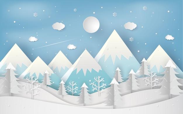 Neues jahr der wintersaison und des weihnachtswaldes Premium Vektoren