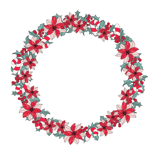 Neues jahr-wreath farbvektor-illustrations-set Premium Vektoren