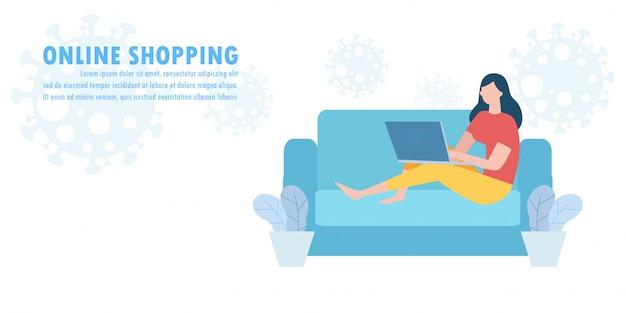 Neues konzept für einen normalen lebensstil, online-shopping auf website und in sozialen medien, e-commerce für mobile anwendungen sozialer abstandseffekt des coronavirus-covid-19-ausbruchs shop- und store-illustration. Premium Vektoren