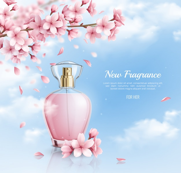 Neues parfüm mit realistischer illustration des sakura-duftes Kostenlosen Vektoren