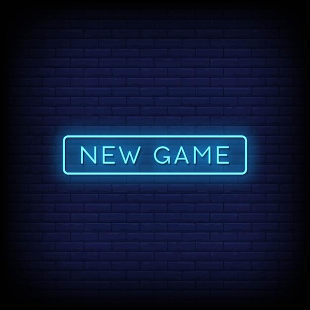 Neues spiel neon signs style text Premium Vektoren