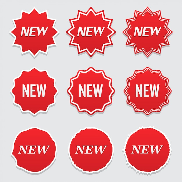 Neues tag-symbol, etikett und aufkleber. großer satz Premium Vektoren