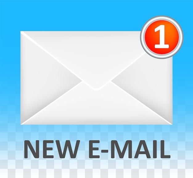 Neues weißes geschlossenes e-mail umschlag logo vektor Premium Vektoren