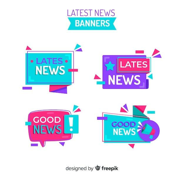 Neueste nachrichten-banner-sammlung Kostenlosen Vektoren