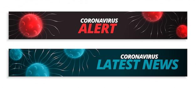 Neueste nachrichten und warnbanner für coronavirus-pandemie Kostenlosen Vektoren