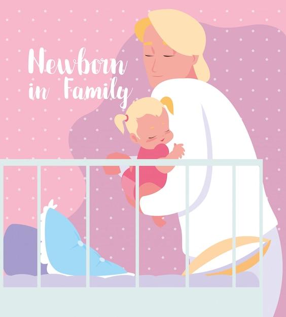 Neugeboren in der familienkarte mit vati und baby Premium Vektoren